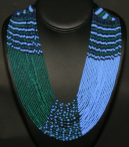 African Tribal Beaded Waterfall Necklace Turquoise Blue Burgundy