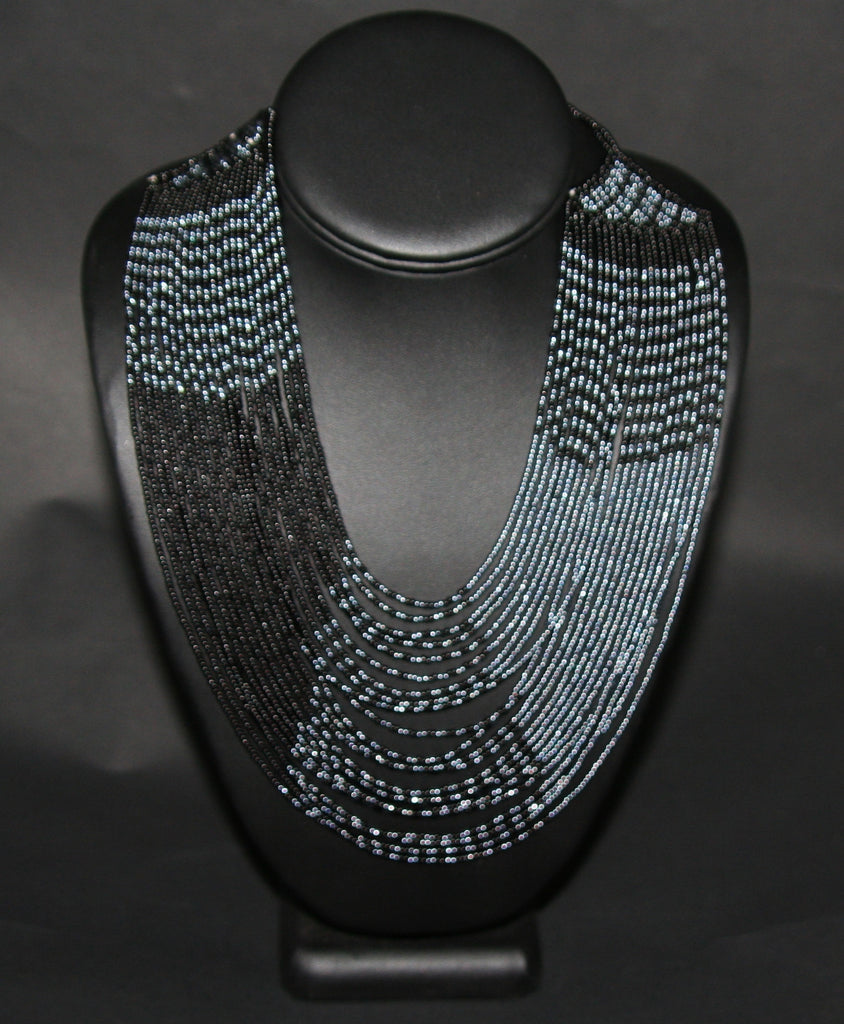 African Tribal Beaded Necklace Waterfall Black Graphite Blue - Cultures International From Africa To Your Home