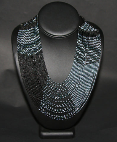 African Tribal Beaded Necklace Waterfall Black Graphite Blue