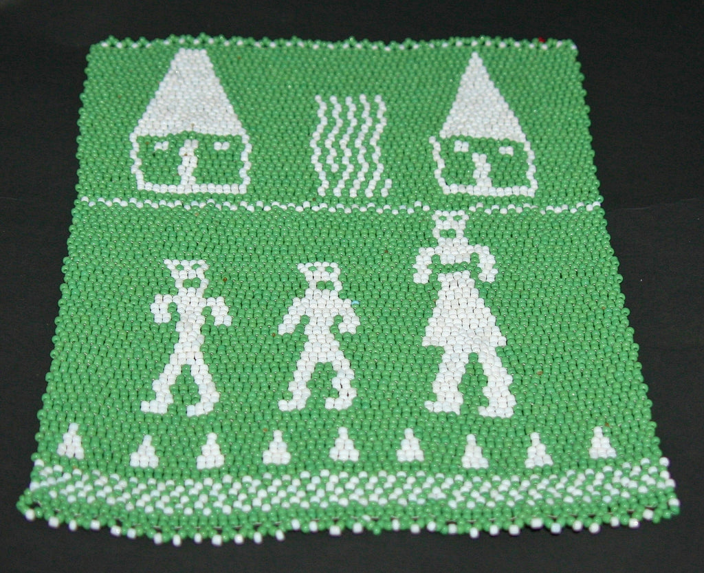 "African Beaded Picture Mat Tribal Art  Green White 10"" X 8"" Handwoven in South Africa - Cultures International From Africa To Your Home"