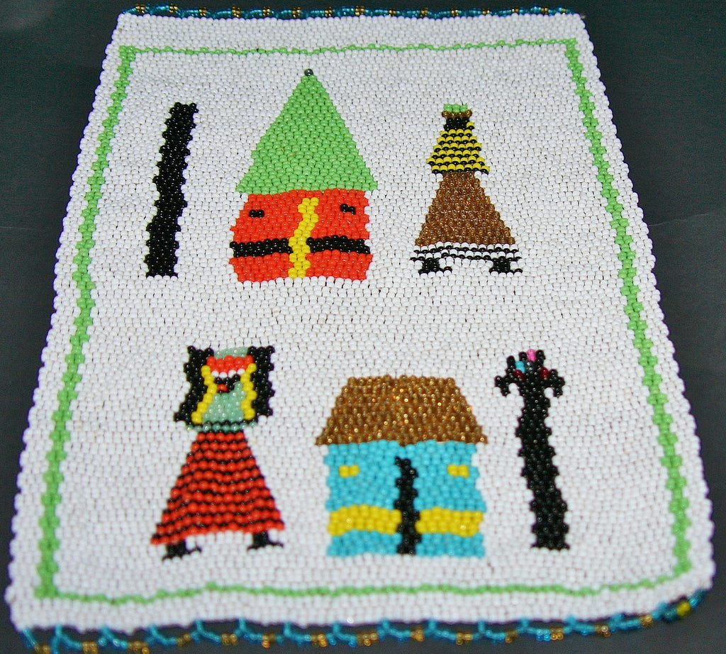 "African Beaded Picture Mat Tribal Art White Green 12"" H X 8.5"" W  Woven South Africa - Cultures International From Africa To Your Home"