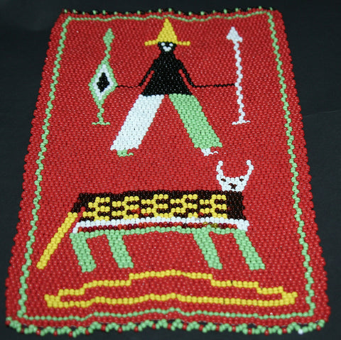 "African Beaded Picture Mat Tribal Art Hunter Red 11.5"" H X 7.25"" W Woven South Africa - culturesinternational  - 1"