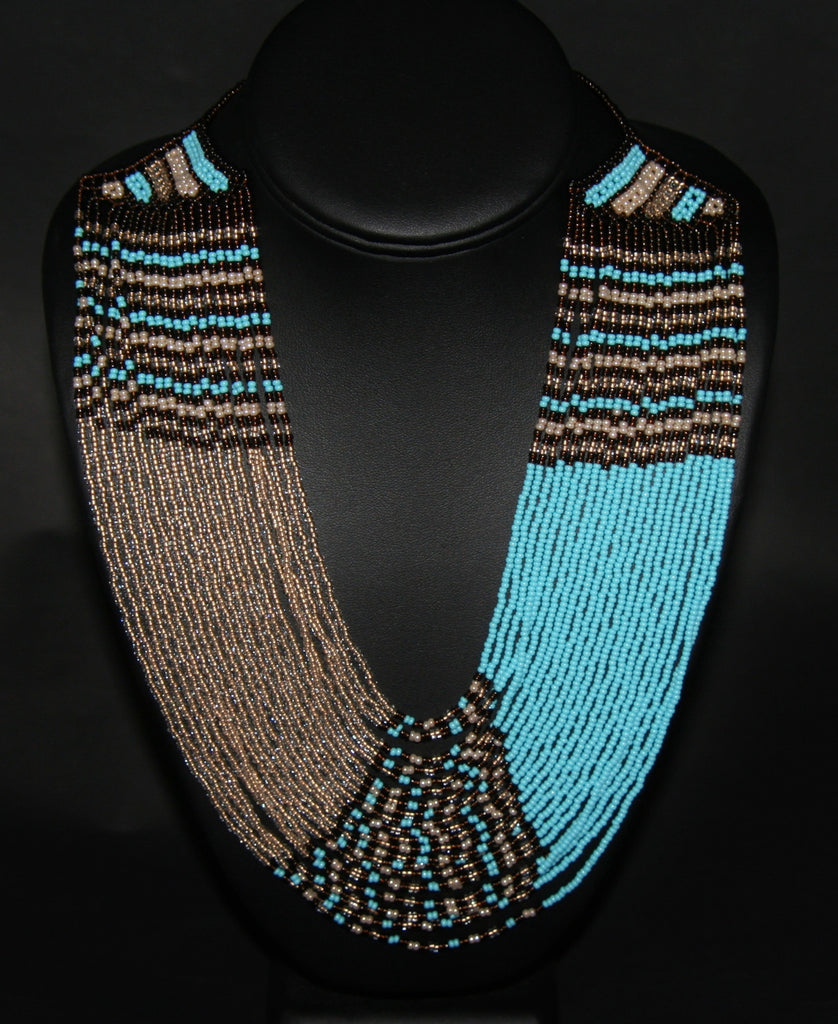 African Tribal Beaded Waterfall Blue Pearl Burgundy Taffy Colors - Cultures International From Africa To Your Home