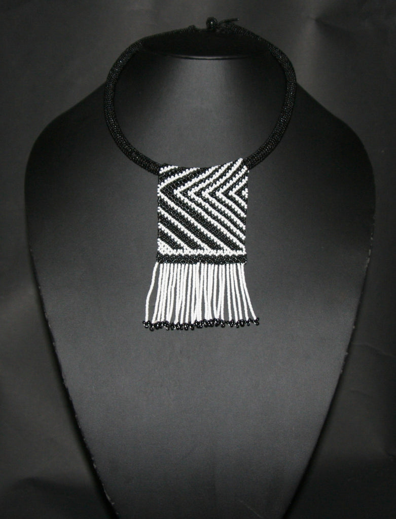 African Zulu Love Beaded Necklace Black White Beaded Fringe - Cultures International From Africa To Your Home