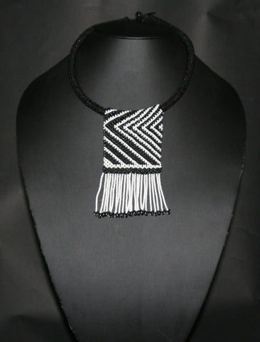 African Zulu Love Beaded Necklace Black White Beaded Fringe