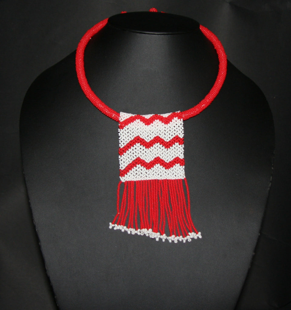 African Love Letter Beaded Necklace Red White Beaded Fringe - Cultures International From Africa To Your Home