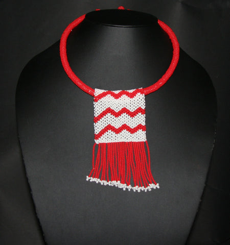 African Love Letter Beaded Necklace Red White Beaded Fringe