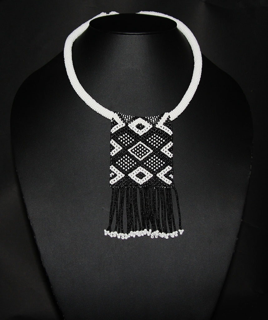 African Love Letter Beaded Necklace Black on White Beaded Fringe - Cultures International From Africa To Your Home
