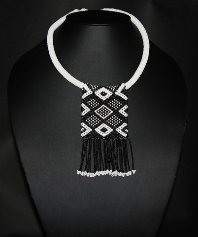 African Love Letter Beaded Necklace Black on White Beaded Fringe