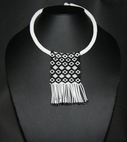 African Love Letter Beaded Necklace Black & White on White Bead Choker - Cultures International From Africa To Your Home