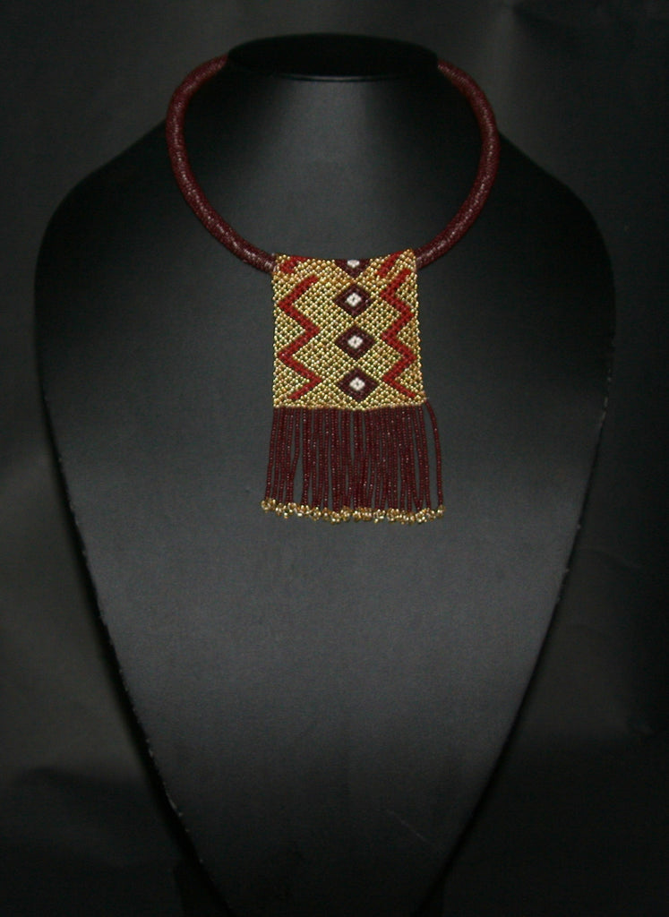 African Love Letter Beaded Necklace Mahogany Brown Gold Pearl - culturesinternational  - 1