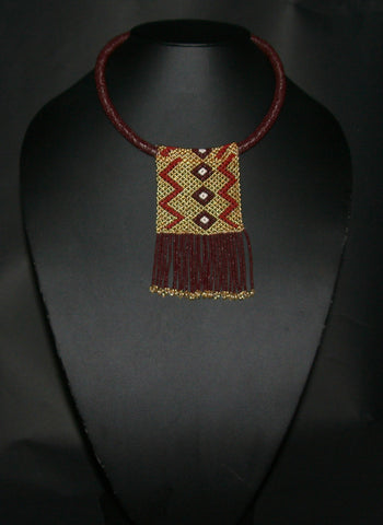 African Love Letter Beaded Necklace Mahogany Brown Gold Pearl