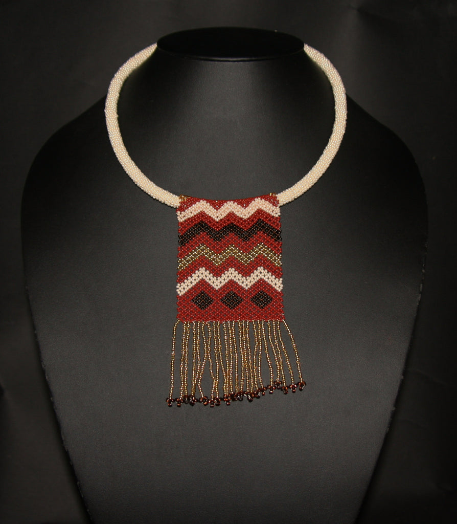 African Beaded Necklace Mahogany Brown Gold on Pearl Colored Choker - Cultures International From Africa To Your Home