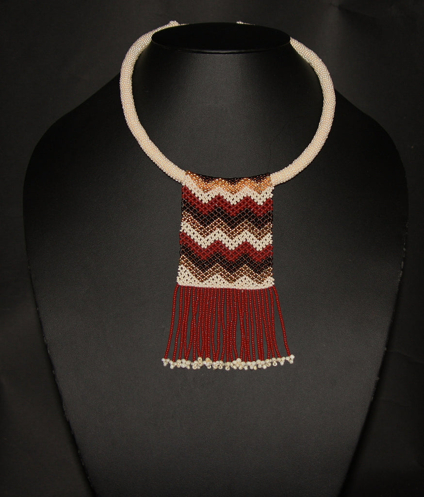 African Beaded Necklace Mahogany Brown Gold on Pearl Colored Choker - culturesinternational  - 1