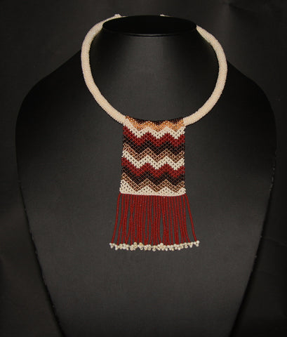 African Beaded Necklace Mahogany Brown Gold on Pearl Colored Choker