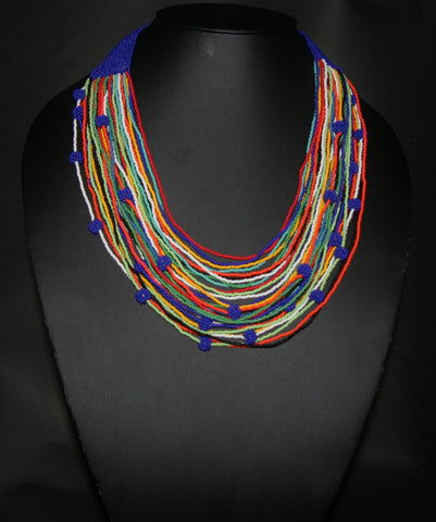 Tribal Beaded Multistrand African Necklace Navy & Multiple Colors