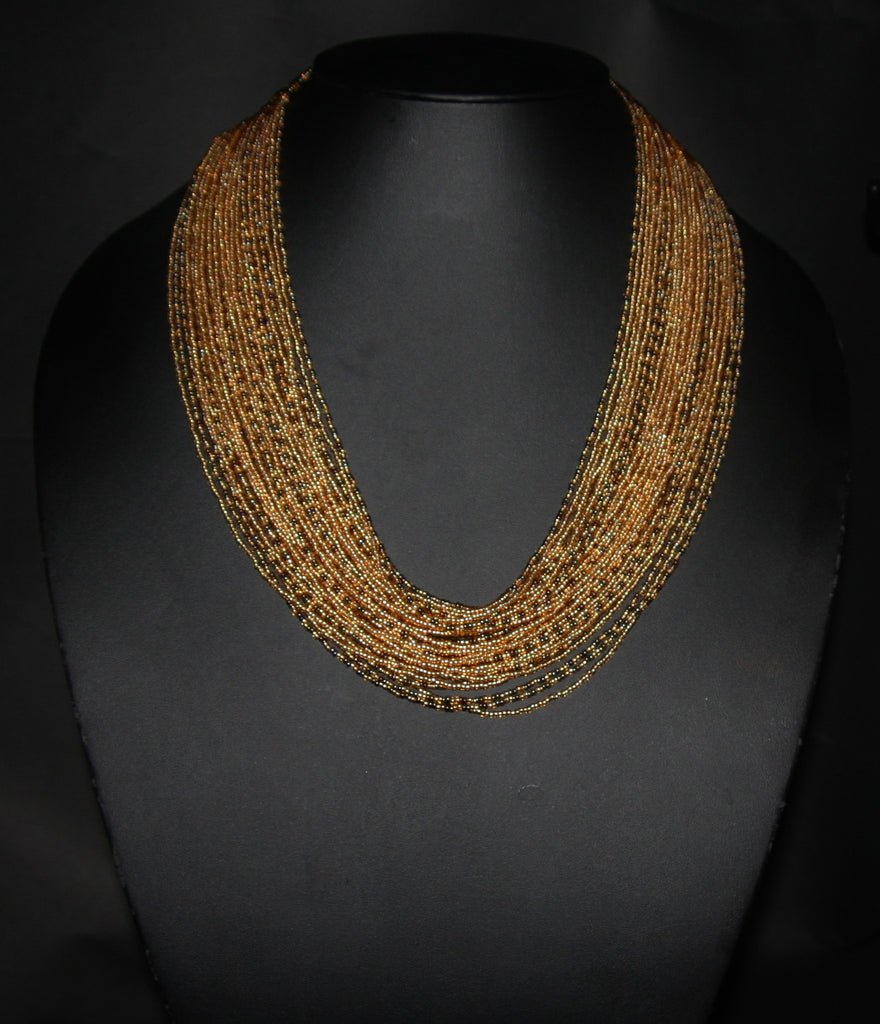 Tribal Beaded Multistrand African Necklace Gold & Graphite Colors - culturesinternational  - 1