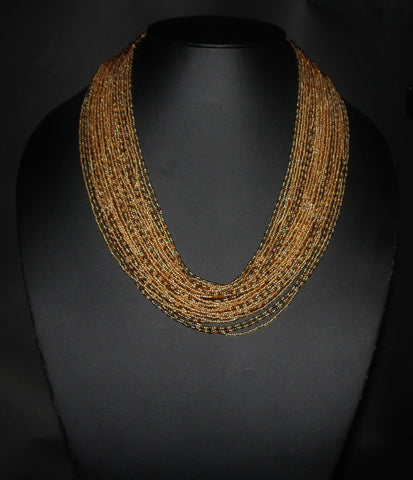 Tribal Beaded Multistrand African Necklace Gold & Graphite Colors