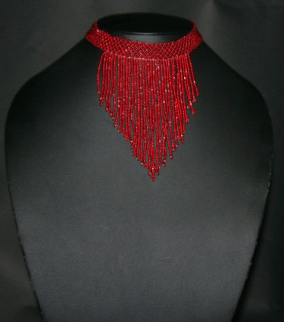 African Beaded Choker Necklace Red Handcrafted Swaziland - Cultures International From Africa To Your Home