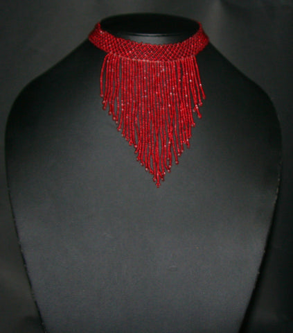 African Beaded Choker Necklace Red Handcrafted Swaziland