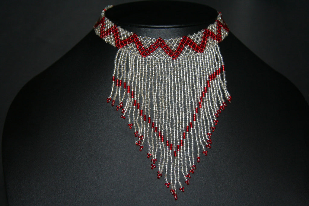 African Beaded Choker Necklace Red White/Silver Chevron Design Swaziland - culturesinternational  - 1
