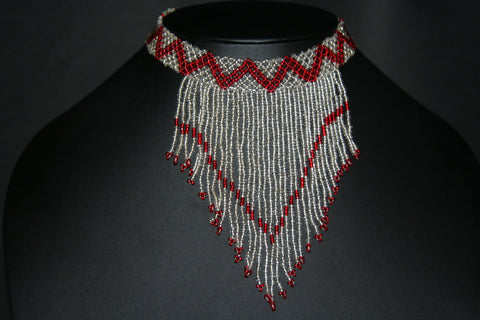 African Beaded Choker Necklace Red White/Silver Chevron Design Swaziland