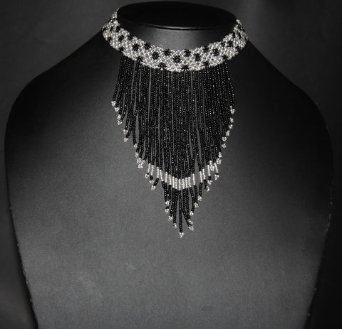 African Beaded Choker Necklace Black White Handcrafted Swaziland - culturesinternational  - 1