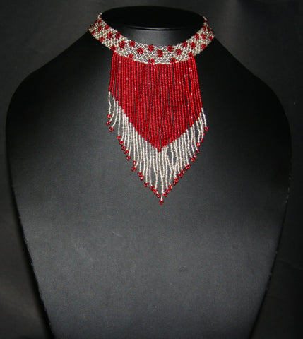 African Beaded Choker Necklace Red White Flowers Handcrafted Swaziland