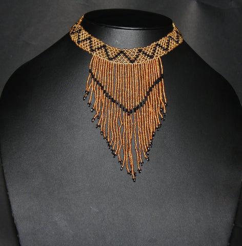 African Beaded Choker Necklace Gold Black Handcrafted Swaziland Vintage - culturesinternational  - 1