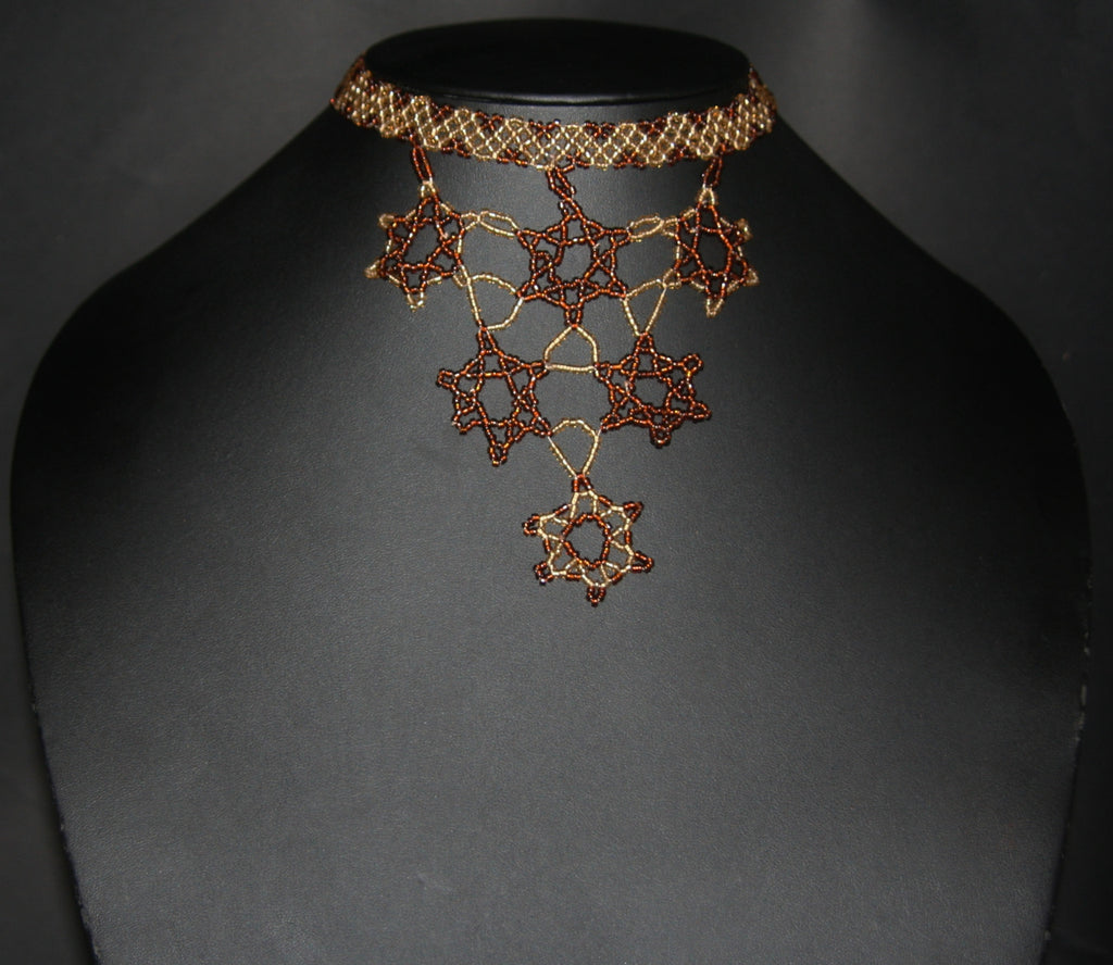 African Beaded Choker Necklace 6 Star Copper Gold Handcrafted Swaziland - Cultures International From Africa To Your Home