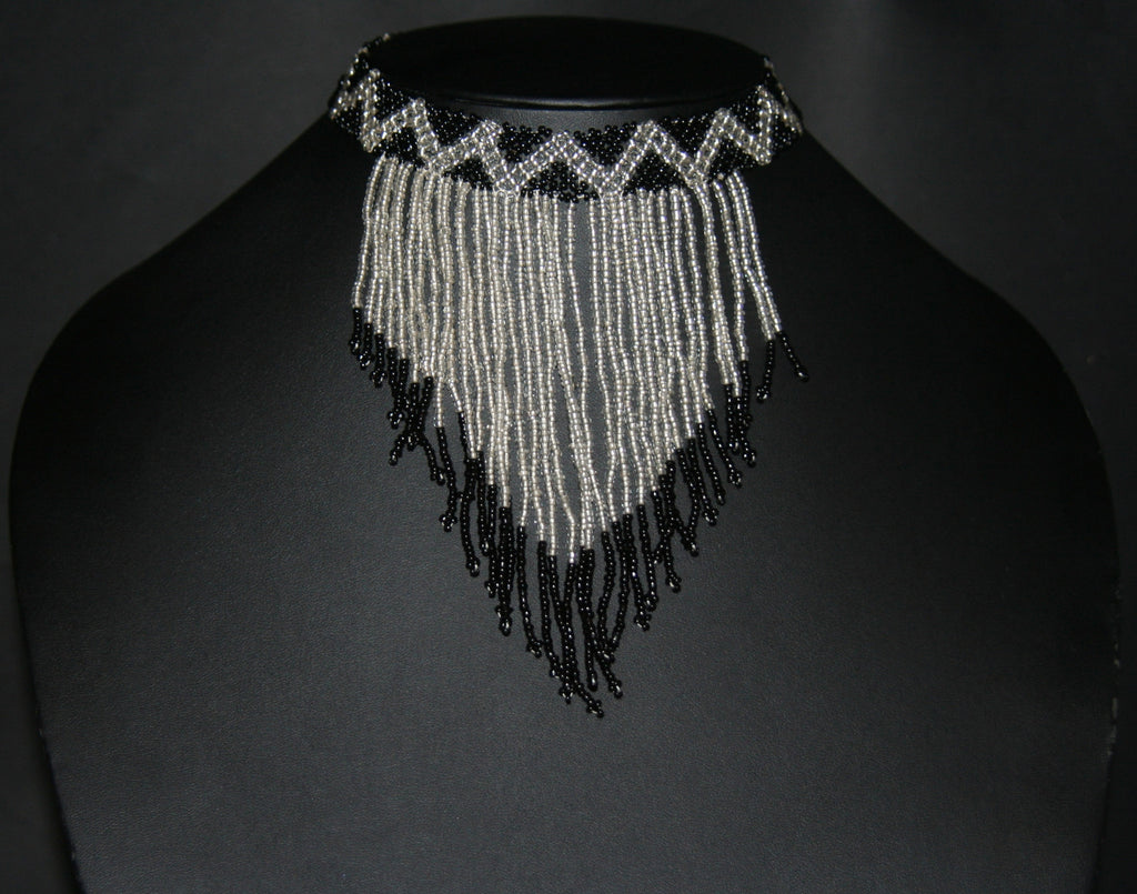 African Beaded Choker Necklace Cascade Black White Handcrafted Swaziland - Cultures International From Africa To Your Home