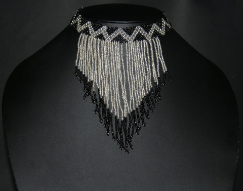 African Beaded Choker Necklace Cascade Black White Handcrafted Swaziland