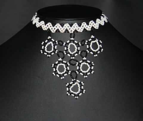 African Beaded Choker Necklace 6 Star Black White Handcrafted Swaziland