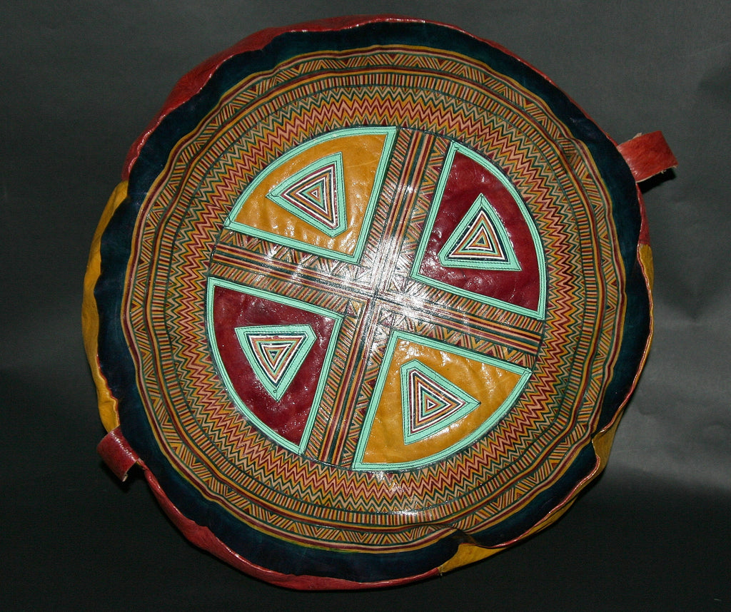 African Tuareg Leather Pouf/Ottoman/Footstool Antique Red Yellow Blue Turquoise - Cultures International From Africa To Your Home