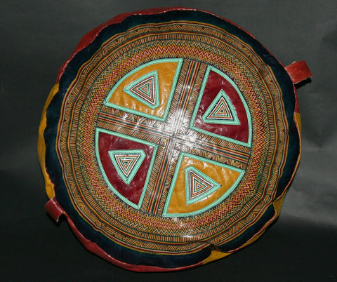 African Tuareg Leather Pouf/Ottoman/Footstool Antique Red Yellow Blue Turquoise