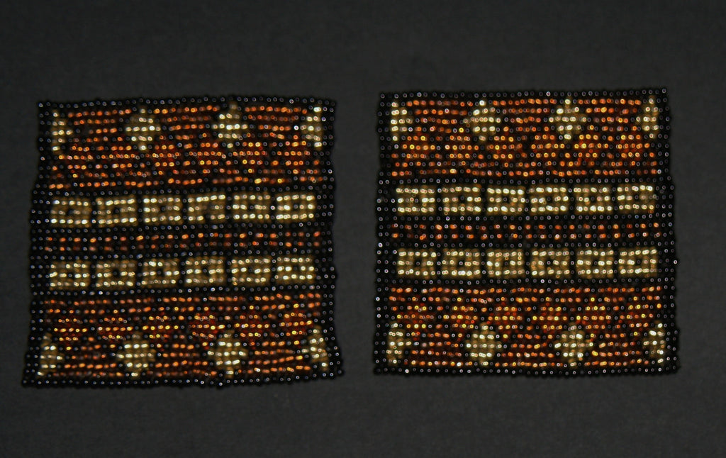 Beaded Coasters Handmade South Africa Set of 2 Tribal Design Copper Gold Black - culturesinternational  - 1