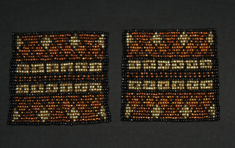 Beaded Coasters Handmade South Africa Set of 2 Tribal Design Copper Gold Black