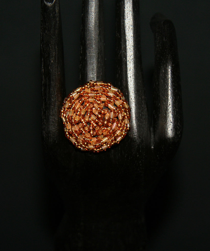 African Beaded Ring Gold Rose 24 - Cultures International From Africa To Your Home