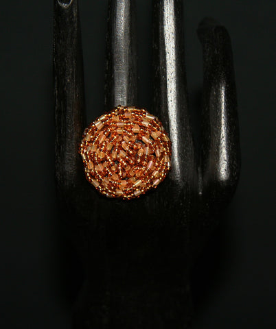 African Beaded Ring Gold Rose 24