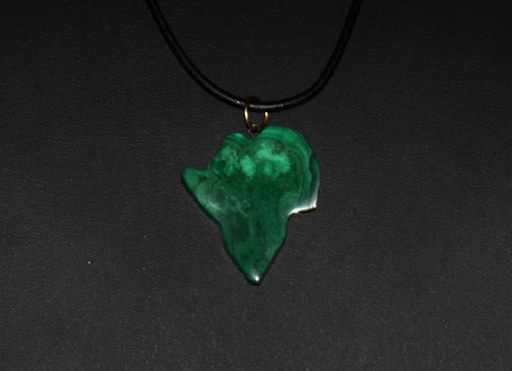 "Malachite African Continent Pendant Necklace on Black Leather 27"" L - Cultures International From Africa To Your Home"