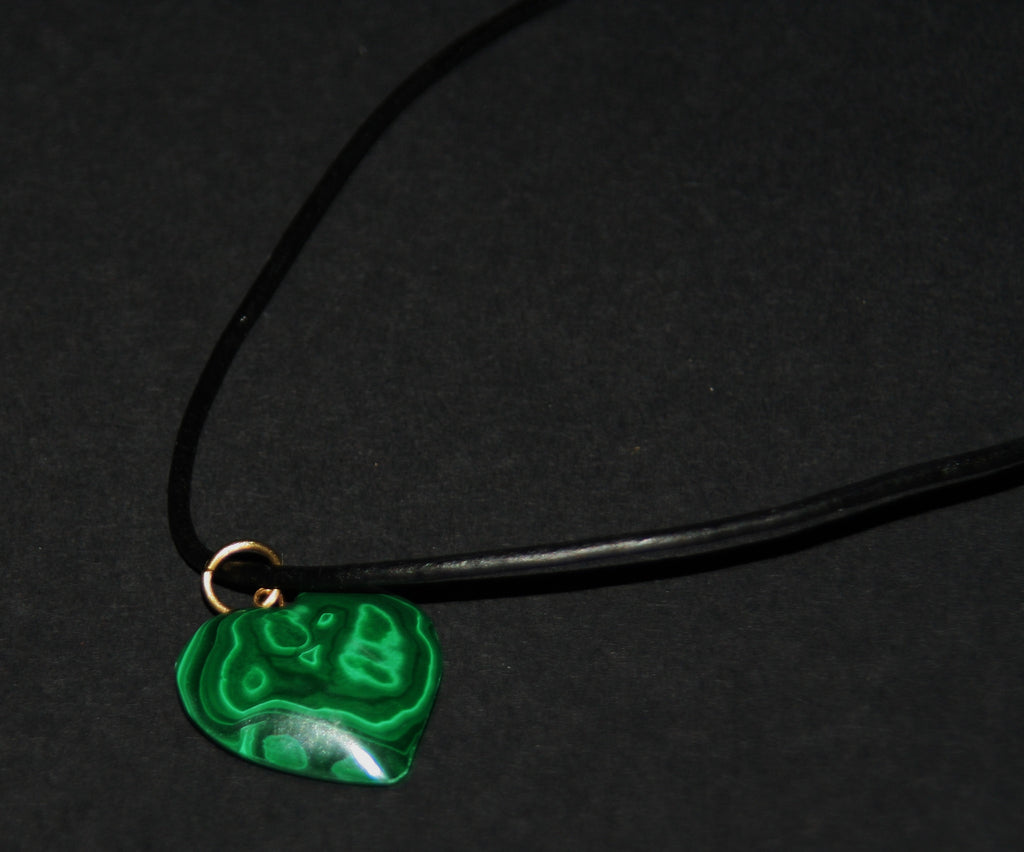 "Malachite Heart Pendant Necklace on Black Leather 24"" L - Cultures International From Africa To Your Home"