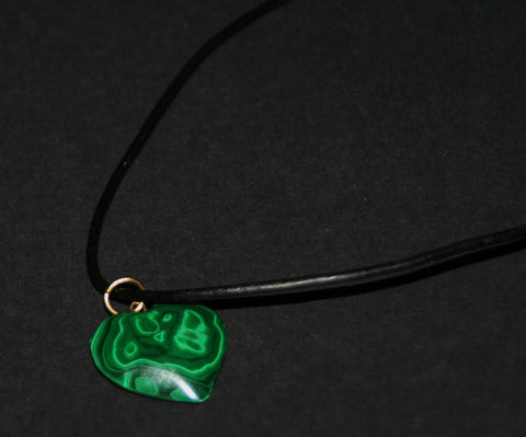 "Malachite Heart Pendant Necklace on Black Leather 24"" L"
