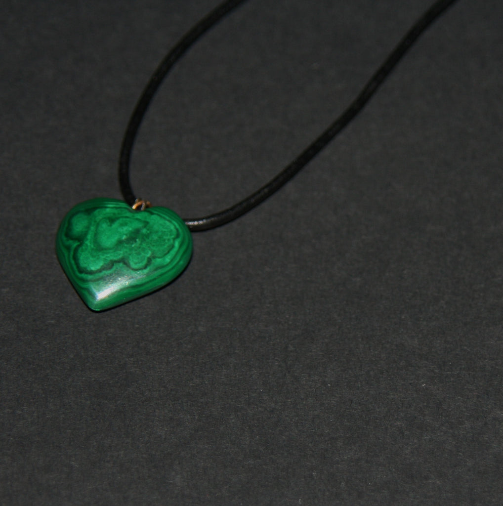 "Malachite Heart Pendant Necklace on Black Leather 22"" L - culturesinternational  - 1"