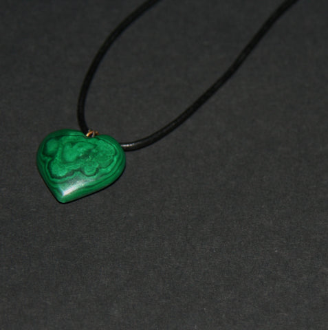 Malachite Heart Pendant Necklace on Black Leather