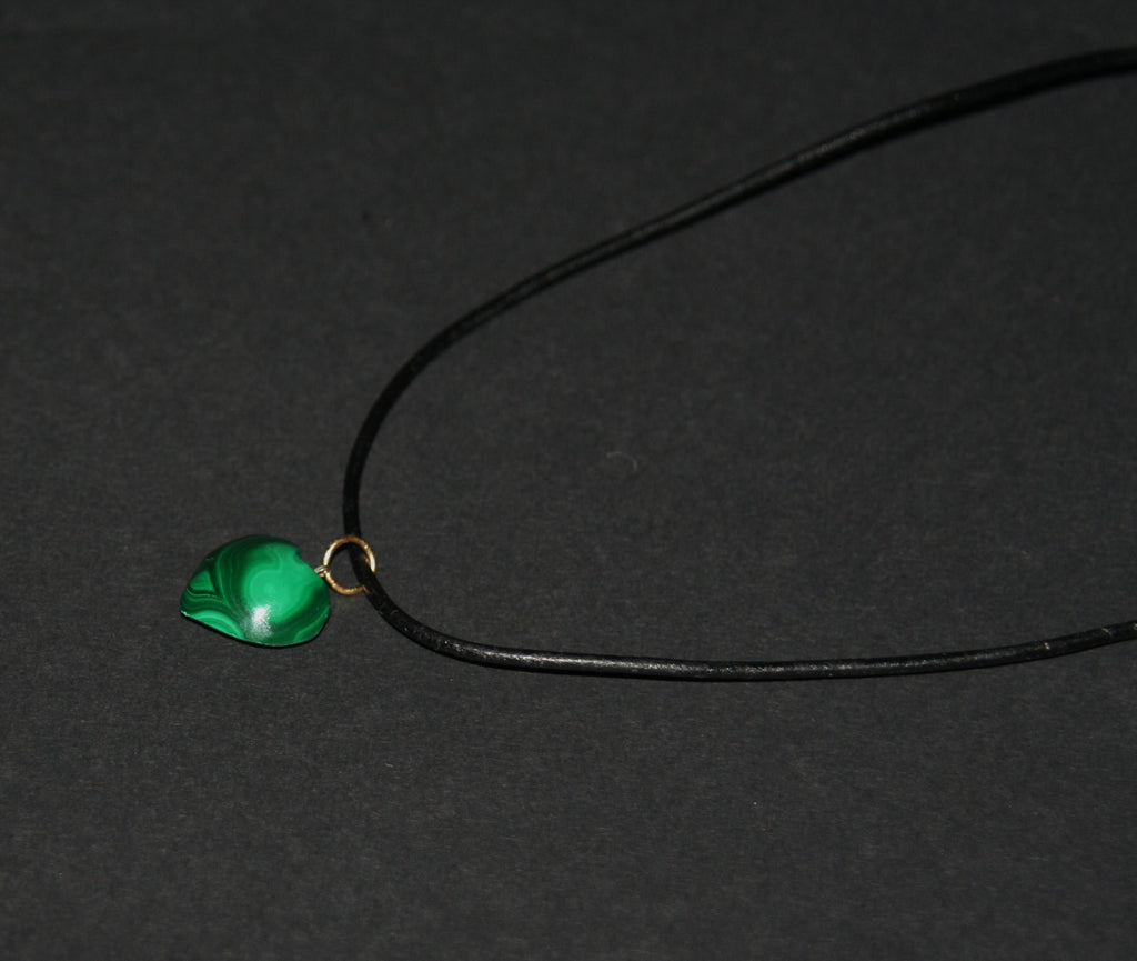 "Malachite Heart Pendant Necklace on Black Leather 20"" L - Cultures International From Africa To Your Home"