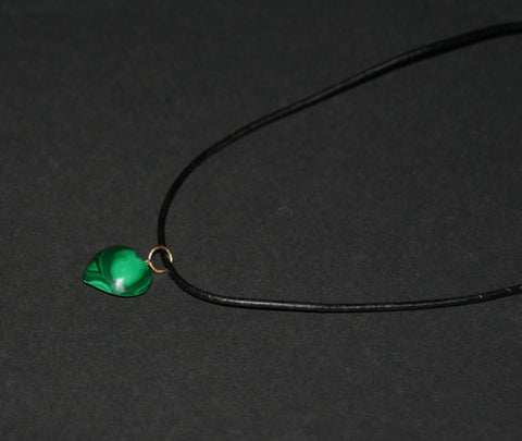 "Malachite Heart Pendant Necklace on Black Leather 20"" L"