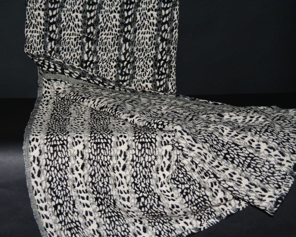 "Leopard Design Black White Hand Woven Cotton Blanket 70"" X 98"" - culturesinternational  - 1"