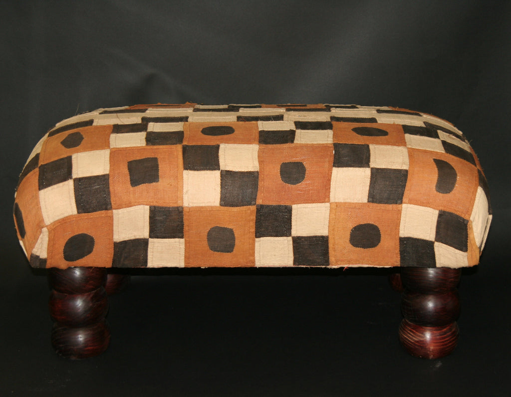 African Kuba Bench/Coffee Table/Ottoman With Vintage Kuba Cloth - Cultures International From Africa To Your Home