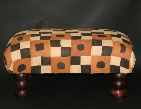 African Kuba Bench/Coffee Table/Ottoman With Vintage Kuba Cloth - culturesinternational  - 1
