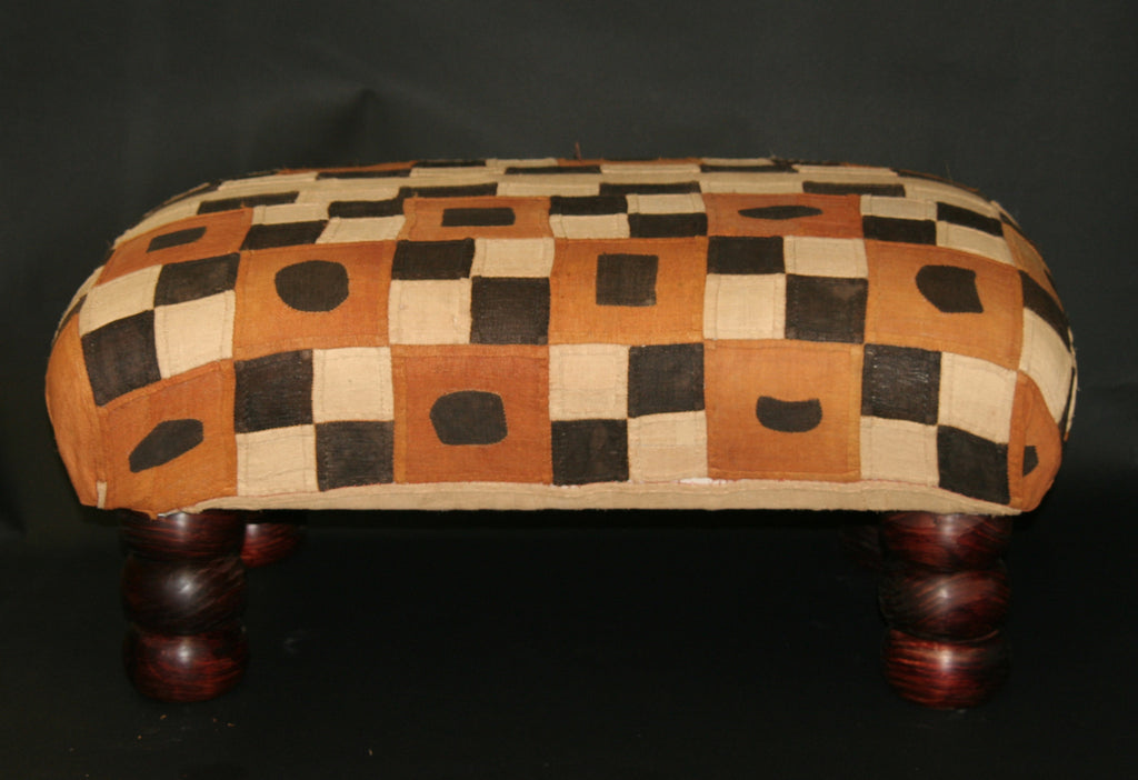 African Kuba Bench Coffee Table Ottoman With Vintage Kuba Cloth